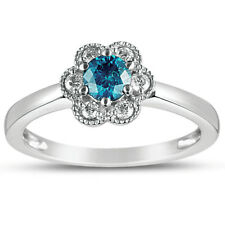 Eloquence 10k White Gold 1/2ct TDW Lab-treated Blue and White Diamond Ring