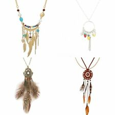 Charm Feather Crystal Fruit Pendant Long Chain Necklace Statement Jewelry Girl