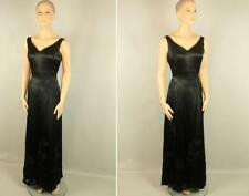 SUE WONG NOCTURNE Black Silk Beaded Embellished Maxi Long Formal Gown Dress 10