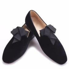 Mens Wedding Velvet Loafers with Bowtie Handmade Smoking Slippers Dress Shoes sh