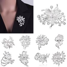 Flower Leaf Bouquet Rhinestone Pearl Wedding Bridal Brooch Pin Women Jewelry New