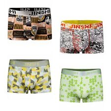 4 Pack JinShi Mens Boxer Briefs Sexy Sports Bamboo Underwear Shorts Underpants