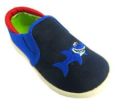 Chipmunks Feargal Boy's Navy Pull On Shark Print Flat Twin Gusset Loafers New