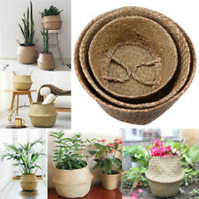 Seagrass Belly Basket Plant Pot Laundry Storage Holder Organizer Hand Woven Bag