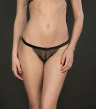 Maison Close Villa Satine Black Mini String Thong - size UK 6-8