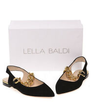 Lella Baldi Sandals Shoes Leather MADE IN ITALY Woman Black LB405