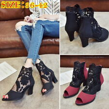 Woman Mesh Lace Sandals Block Heels Shallow Nightclub Fish Mouth Shoes