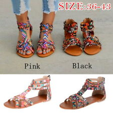Womens Boho Flat Sandals Trendy Ankle Strap Open Toe Sandals Beach Shoes GIFT
