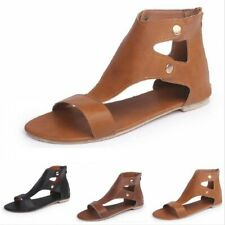 Womens Gladiator Flat Sandals Summer Casual Open Toe Roman Shoes EUR 35-43 Chic