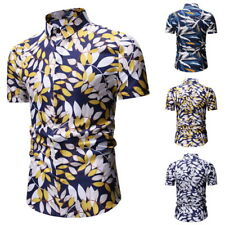 Mens Hawaii Short Sleeve Button-Down Shirts Slim Fit T-Shirt Floral Tops GIFT