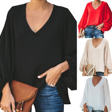 Women Selling Chiffon Casual Sweet  Cute Loose Balloon Sleeve V-Neck Blouse Top