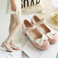 Women Chunky Mid Heel Round Toe Lolita Shoes Bowknot Mary Jane Pumps Ankle Strap