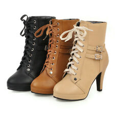 Autumn Womens Ankle Boots Spike High Heel Ladies Platform Buckle Strap Lace Up