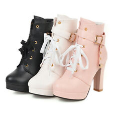 Womens Fashion Zipper Platform Ankle Boots High Heel Autumn Lace Up Buckle Strap