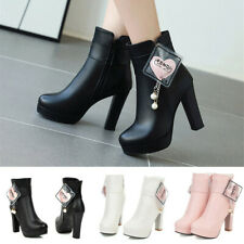 Women Autumn Platform Strap Chunky High Heel Ankle Boots Side Zip Up With Heart