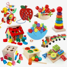 Kids DIY Wooden String Beads Jigsaw Puzzle Blocks Children Educational Toy Gifts