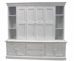 Coastal COTTAGE Maybank Wall Unit ENTERTAINMENT CENTER 40 Colors 14 Door Styles