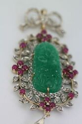ANTIQUE CARVED CHRYSOPRASE PENDANT W5.21 CT DIAMONDS RUBIES & PEARL 18K Y GOLD