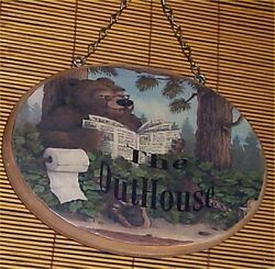 Bear Wall Plaque Sign Outhouse Door Wood Lodge Cabin Country Decor $24.99