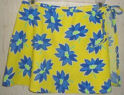 NEW WOMENS JANTZEN YELLOW WITH BLUE FLORAL SWIMSUIT COVERUP SKIRT SIZE S M $24.95
