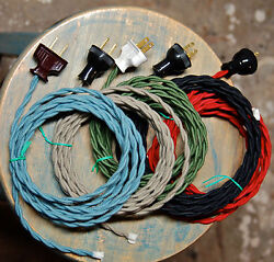 8#x27; Twisted Cloth Covered Wire amp; Plug Vintage Light Rewire Kit Lamp Cord rayon $15.29