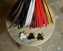 8#x27; Flat 2 Wire Cloth Covered Cord amp; Plug Vintage Light Lamp Rewire Kit Rayon $14.66