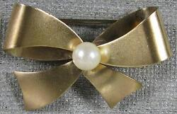 1960's Vintage Real Nice 120th 12K Gold Filled WRF Bowtie With Pearl Pin $24.00