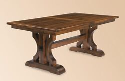 Amish Rustic Plank Trestle Dining Table Rectangle Solid Wood Cabin Furniture