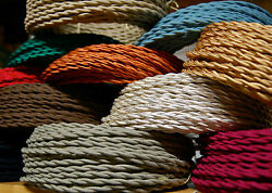25' Cotton Cloth Covered Twisted Electrical Wire Vintage Lamp Cord Antique Fans