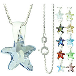 925 Sterling Silver Faceted Starfish Blue Shape Crystal Pendant Necklace
