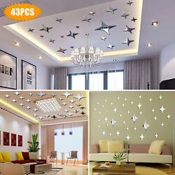 43PCS 3D Wall Stickers Home Decor DIY Art Mirror Star Decal Bedroom Removable US $9.98