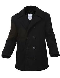 Mens Coat - Wool US Navy Type Pea Coat Black by Rothco ALL SIZES FROM XS TO 6XL