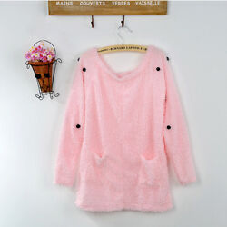 Ladies Long Sleeve Button Back Soft Fur Pink Sweater Jumper Tops Cardigan Hot