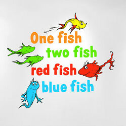 One Fish Two Fish Red Fish Blue Fish Dr Seuss Kids Wall Decal Peel and Stick $17.99
