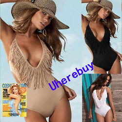 NEW Sexy Ladies Tassels Monokini Swimsuit Bathing Beach Fringe Swinwear Bikini $10.98