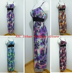 Trendy Boho Rose Pattern Summer Dress Spaghetti Strap MAXI Casual Chic Sundress $7.40