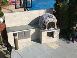 Outdoor Pizza Oven w Mosaic Tiles & Cast Iron Door made in Portugal 3 Colors!