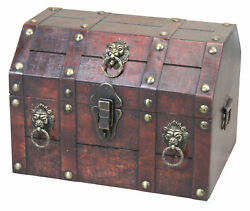 Antique Wooden Pirate Treasure Chest with Lion Rings and Lockable Latch $66.12