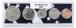 2008 Birth Year Coin Set in American Flag Holder - 5 Coin Set