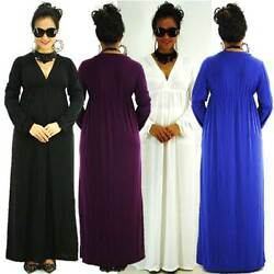 Sz S M L Casual High Quality Polyester Spandex Solid Siam Trendy Maxi Full Dress $33.98