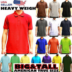 MENS BIG AND TALL PLAIN POLO SOLID COLORS T SHIRT PIQUE COLLARED CASUAL TOP $15.45
