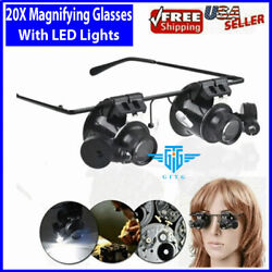 20X Magnifying Magnifier Glasses Magnifaction Jeweler Watch Repair LED Light NEW $7.89