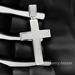 MEN 925 STERLING SILVER ICY DIAMOND BLING CROSS CHARM PENDANT*SP1 $33.99