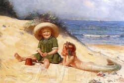 LITTLE MERMAID CHILDREN GIRLS BEACH SHELLS OCEAN SAND PLAY FANTASY CANVAS ART $25.75