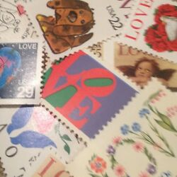 10 Vintage and Different LOVE stamps For Holiday Wedding And Valentine Mail $3.10