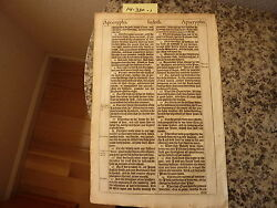 """(Bible Leaf) Leaf from the King James """"She"""" Bible printed in 1613.    #14-330"""