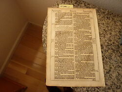 """(Bible Leaf) Leaf from the King James """"She"""" Bible printed in 1613.    #14-344"""