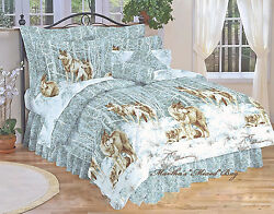 9pc's WOLVES North Country CABIN LODGE King Size Comforter Set wDecor Pillow