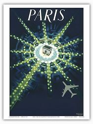 Paris France Arc de Triomphe Airplane Nightlife Vintage Art Poster Print