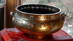 ANTIQUE 19C CHINESE  LARGE POLISHED BRASS TRIPOD CENSER OR PLANTER FLAMING PEARL